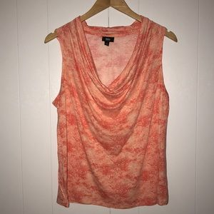 Mossimo Sleeveless Drape Neck Orange Top Large